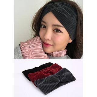 Knotted Ribbed Wide Velvet Headband
