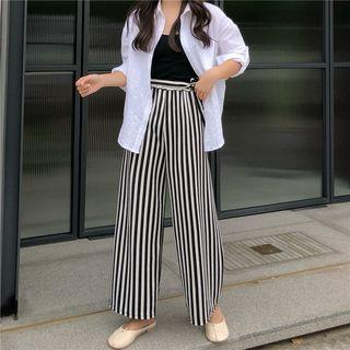 Striped Wide-leg Pants As Shown In Figure - One Size