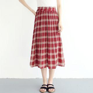 Plaid A-line Chiffon Skirt