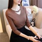 Long-sleeve Hoop-detail Cutout Knit Top