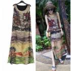 Sleeveless Printed Midi A-line Chiffon Dress