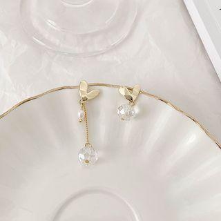 Mismatching Heart Shape Rhinestone Drop Earrings Love Heart - Gold - One Size