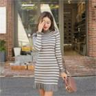 Frilled-detail Striped Knit Dress