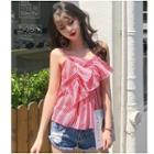 Pinstriped Chiffon Camisole Top Red - One Size