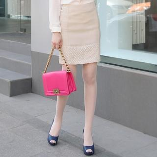 Lace-hem Pencil Skirt