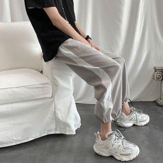 Contrast Trim Drawstring-cuff Cropped Sweatpants