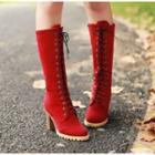 Chunky Heel Lace-up Tall Boots