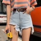Cutout Fringed Denim Shorts
