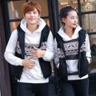 Couple Matching Set: Patterned Hoodie + Vest