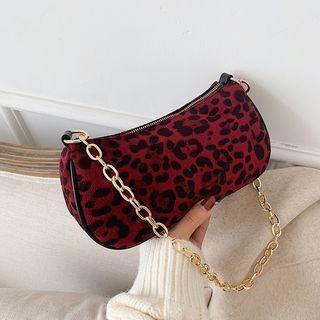 Leopard Print Chained Shoulder Bag