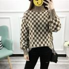 Check Long-sleeve Knit Top