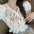 Puff-sleeve Floral Embroidered Blouse White - One Size