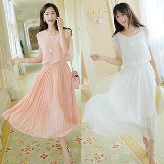 Embellished Sleeveless Chiffon Midi Dress