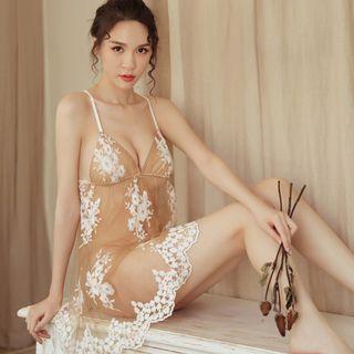 Lace Night Dress Set Khaki - One Size