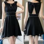 Ruffle Open Back Sleeveless A-line Dress