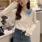Polo-neck Lace Trim Knit Top
