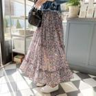 Tiered Floral Chiffon Maxi Skirt