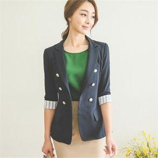 3/4-sleeve Double-breasted Jacket