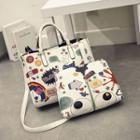 Set: Print Square Tote With Shoulder Strap + Cosmetic Bag