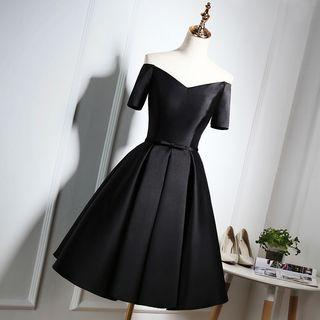 Short-sleeve Off Shoulder Mini Prom Dress