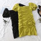 Short-sleeve Crinkled Mini Dress