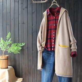 Hooded Open Front Long Cardigan Light Khaki - One Size
