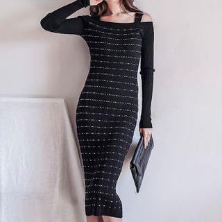 Striped Cold-shoulder Midi Sheath Dress