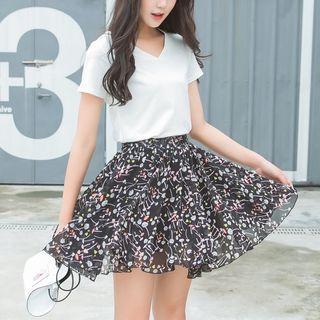 Floral Chiffon Mini Skirt