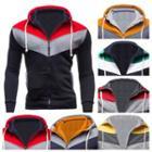Colour Block Zip Hooded Jacket