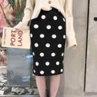 Dotted Midi Sheath Knit Skirt