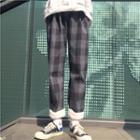 Plaid Straight-cut Pants Plaid - Black - One Size