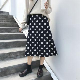 Faux Suede Dotted Midi A-line Skirt