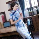 Floral Print Short-sleeve Maxi Cheongsam