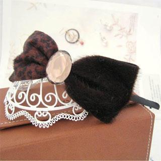 Leopard Bow Hair Band -dark Brown