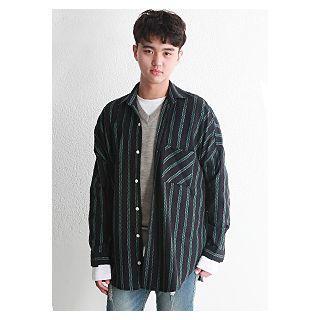 Pocket-front Drop-shoulder Stripe Shirt