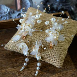 Set: Wedding Faux Pearl Branches Hair Clip + Dangle Earring 1 Pair - Hair Clip - White - One Size / 1 Pair - Earrings - White - One Size