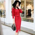 Slit-front Cable Knit Midi Dress