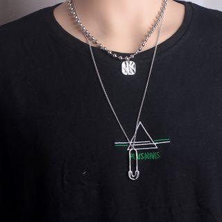 Stainless Steel Tag & Safety Pendant Layered Necklace 520 - As Shown In Figure - One Size