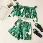 Set: Printed Strapless Top + Printed Shorts