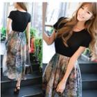 Pleated Floral Print Chiffon Short-sleeve Dress