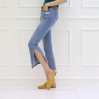 Slit-side Cropped Jeans