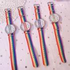 Rainbow Print Canvas Strap Watch With Bracelet