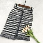 Houndstooth Knitted Pencil Skirt Houndstooth - Black & White - One Size