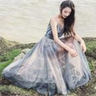 Strappy Sheer Panel Maxi Dress