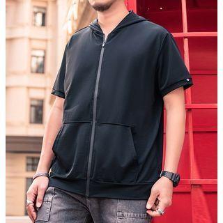 Short-sleeve Zip Hooded Jacket