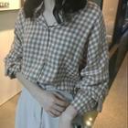 Check Blouse / Midi A-line Skirt