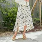 Dip-back Floral Chiffon A-line Long Skirt