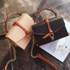Faux-leather Contrast-trim Flap Satchel