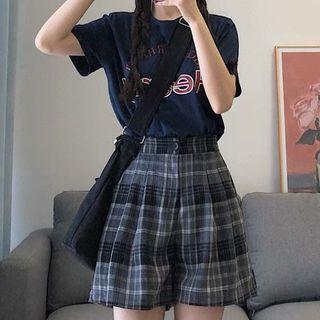 Short-sleeve Lettering Print T-shirt / Plaid Wide Leg Shorts / Set