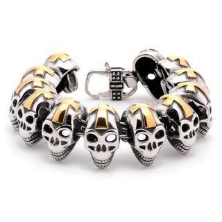Skull Stainless Steel Bracelet Gold & Silver - One Size